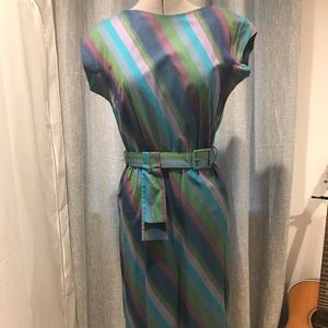 Dresses & Skirts - Vintage 40's style striped dress with belt